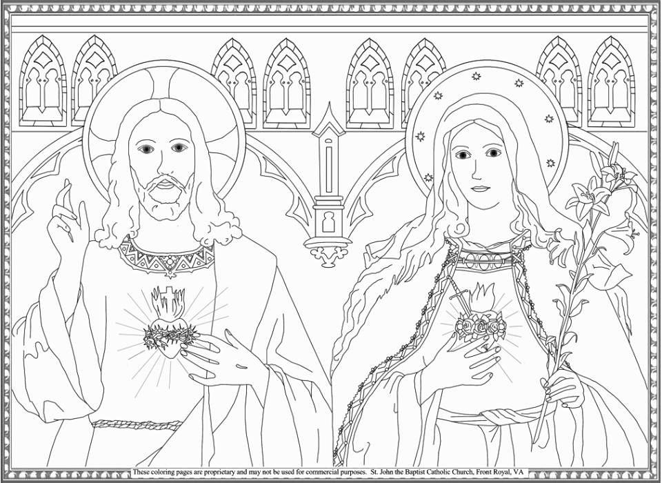 Sagrados Coracoes De Jesus E Maria Jesus Coloring Pages