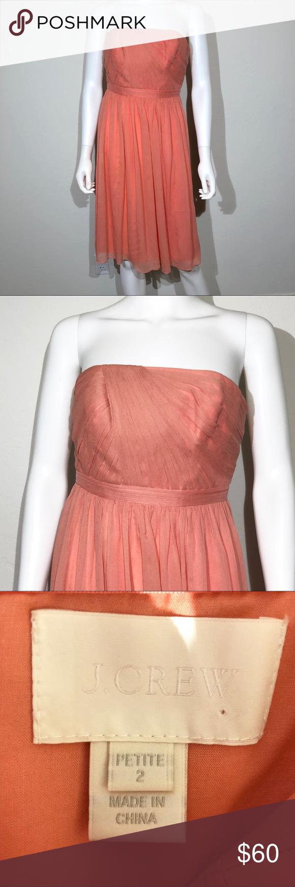 J crew silk formal dress petite coral strapless my posh closet