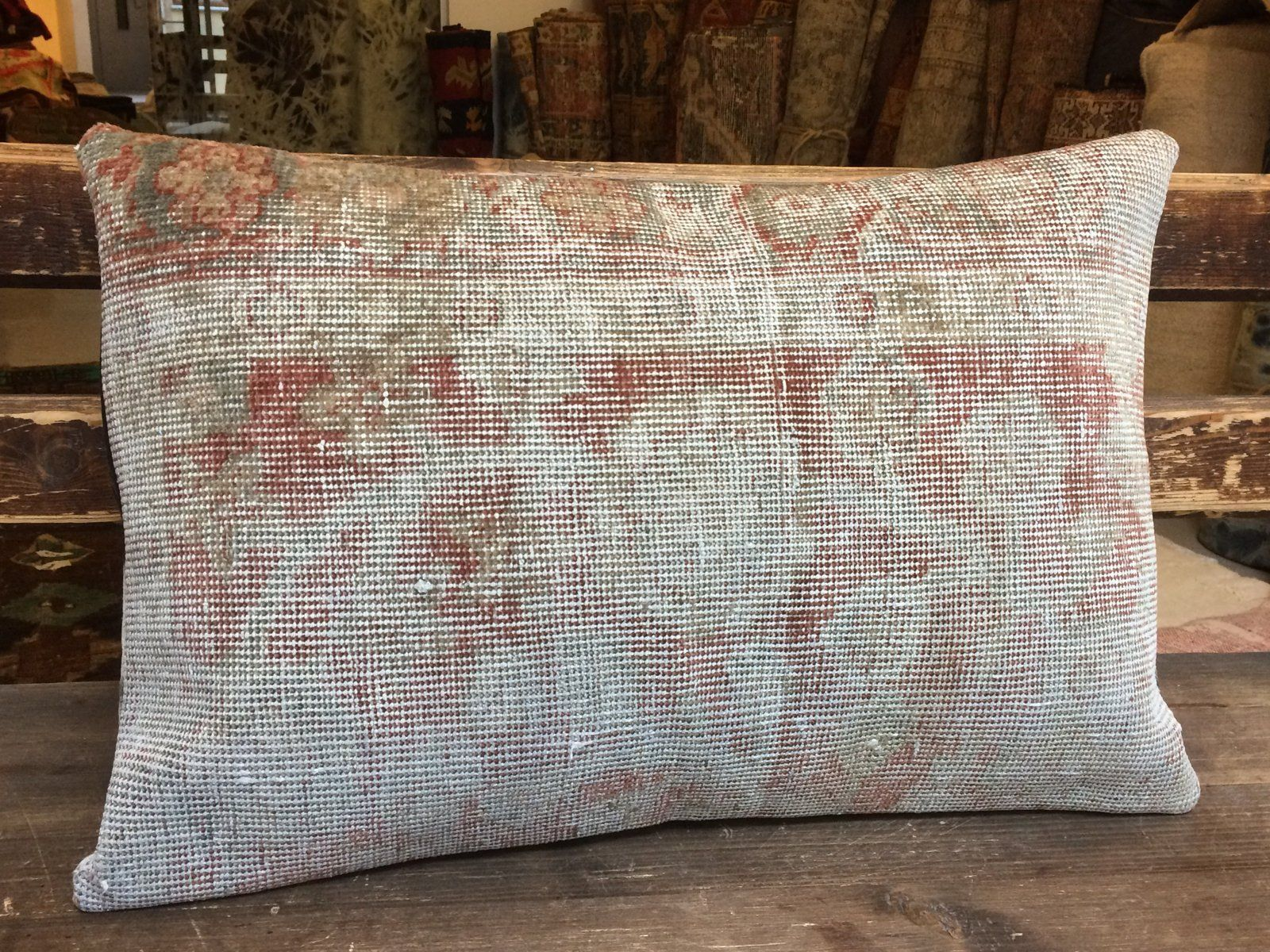 Red beige decorative kilim pillow covers 16x24 throw pillows boho decor turkish couch cushions bohemian wool large accent sofa pillow cases by carpethomeart