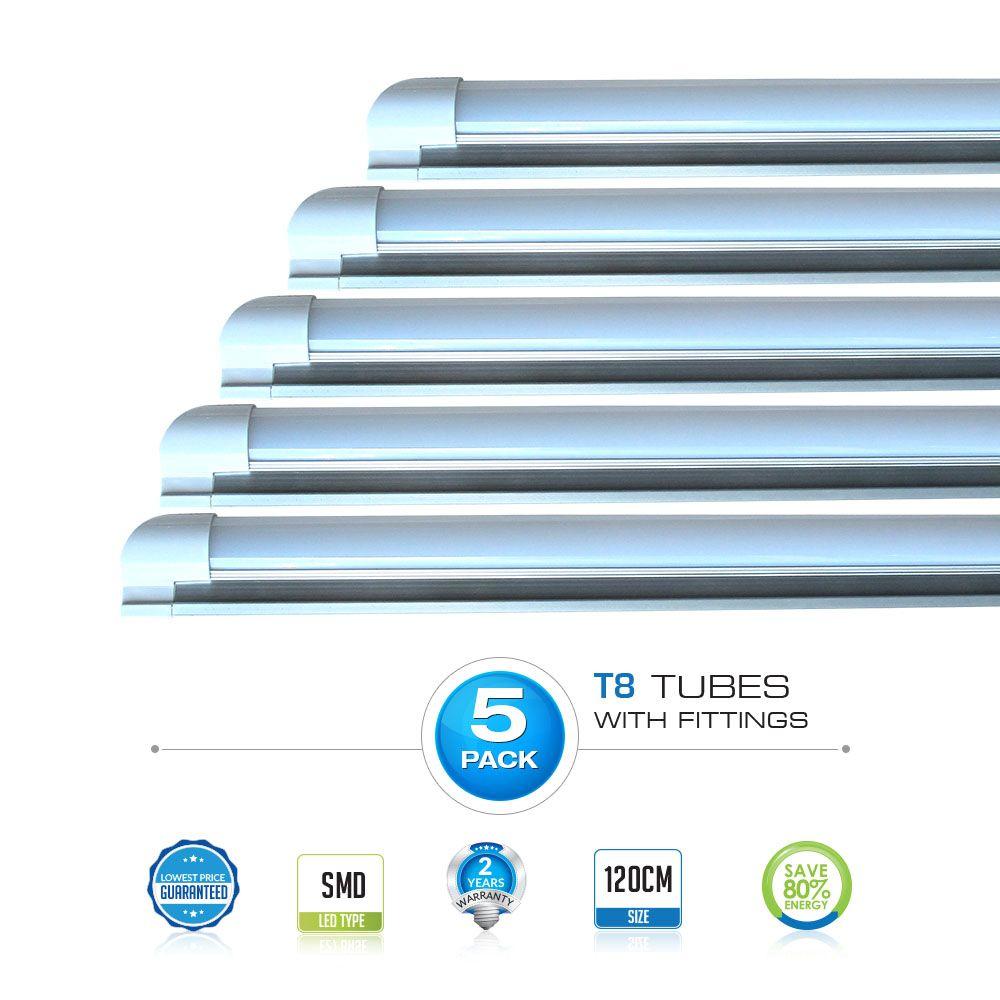 Vtac Led 5pc Pack 18w T8 Led Tube With Fitting 45w Equal 1200 Lumens Buy Pack Of 5 Aed 119 Led Tube Light Led Tubes T8 Led Tube