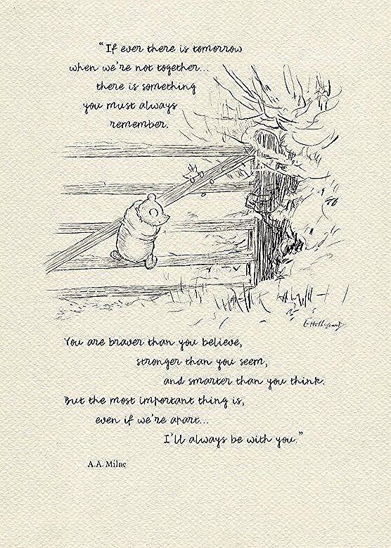 If ever there is tomorrow Winnie the Pooh Quotes  classic vintage style poster print