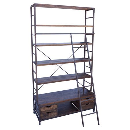 Open Metalwork Bookcase With Five Fir Wood Shelves And Bottom Storage Drawers Sliding Ladder