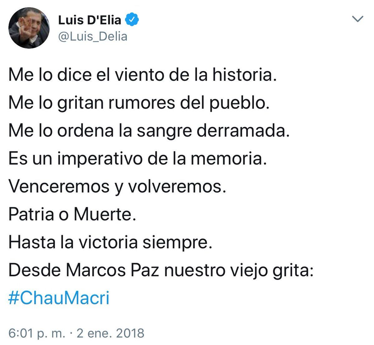 Patria o Muerte ??? Chau Macri???? @PatoBullrich @saenzricardo ...