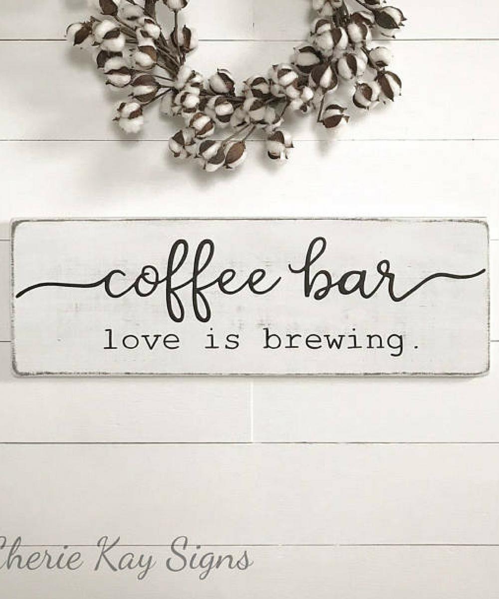 Coffee sign | coffee bar | wood sign | farmhouse wall decor ...