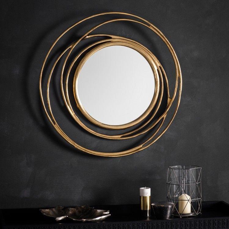Allende Satin Gold Twist Round Wall Mirror A Statement Contemporary Round Mirror Design Surrounded By A Satin Go Round Gold Mirror Gold Mirror Wall Mirror Wall