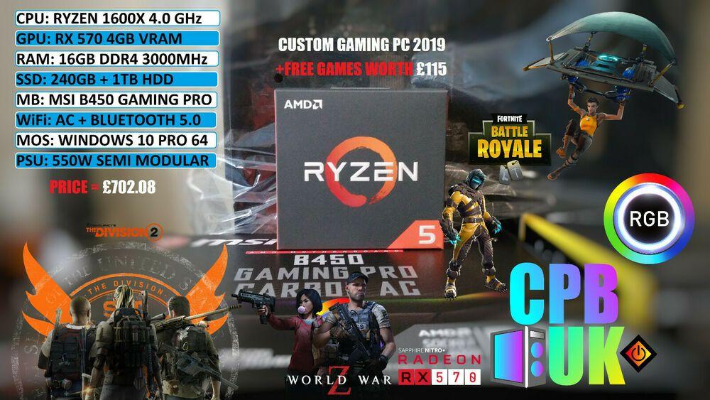 Ryzen 1600X RX580 Custom PC Benchmark Fortnite Max