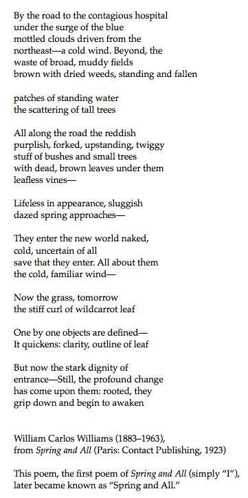 William Carlos Williams Spring And All Karmelo C