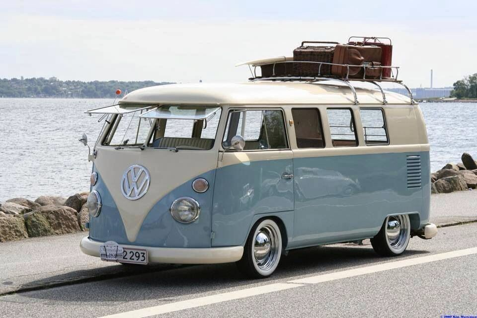 Blue and cream classic VW Spkitscreen campervan