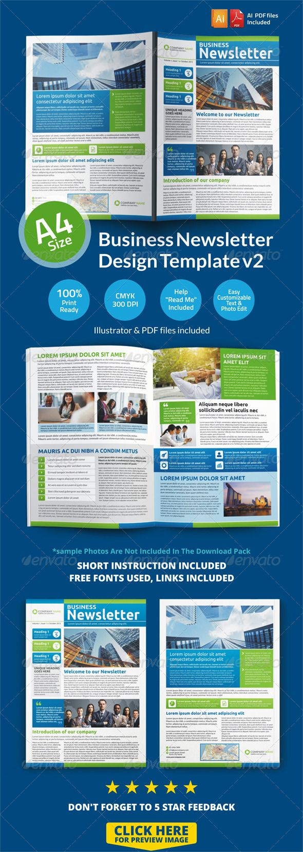 Newsletter Design Template V2 Flyers Pinterest Newsletter