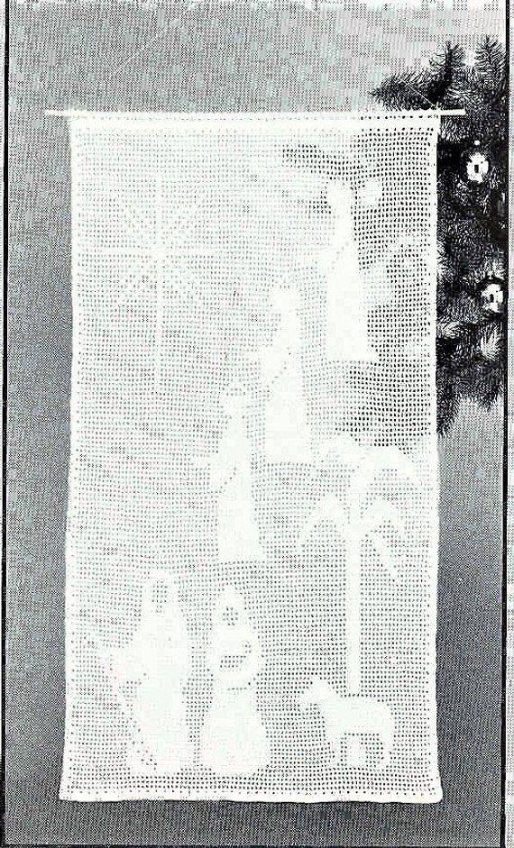 Vintage Filet Crochet Pattern Christmas Nativity Scene Panel Or Wall