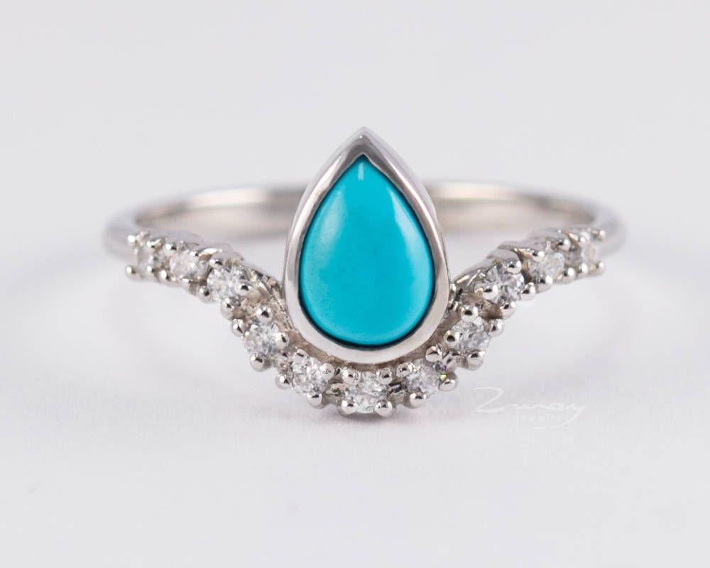 Turquoise engagement ringturquoise diamond ringturquoise pear