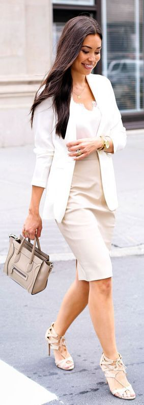 White And Nude Office Outfit Idea #With Love From Kat