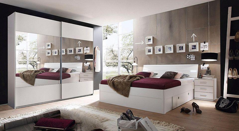 Schlafzimmer mit Bett 90 x 200 cm Kiefer weiss lackiert Jetzt - schlafzimmer kiefer wei