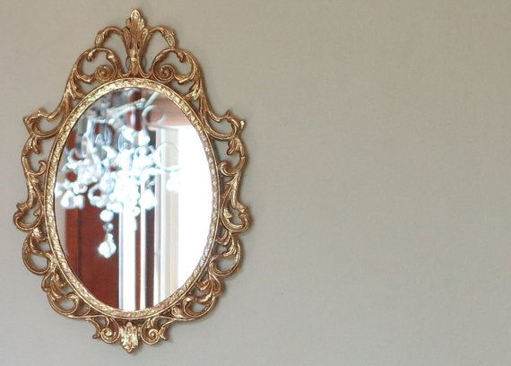 Vintage PYRITE Wall Mirror In GOLD Regency Ornate Frame