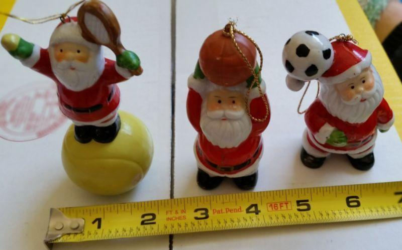 Set of 3 santa figurines / ornaments- tennis ball-basketball-soccer ball