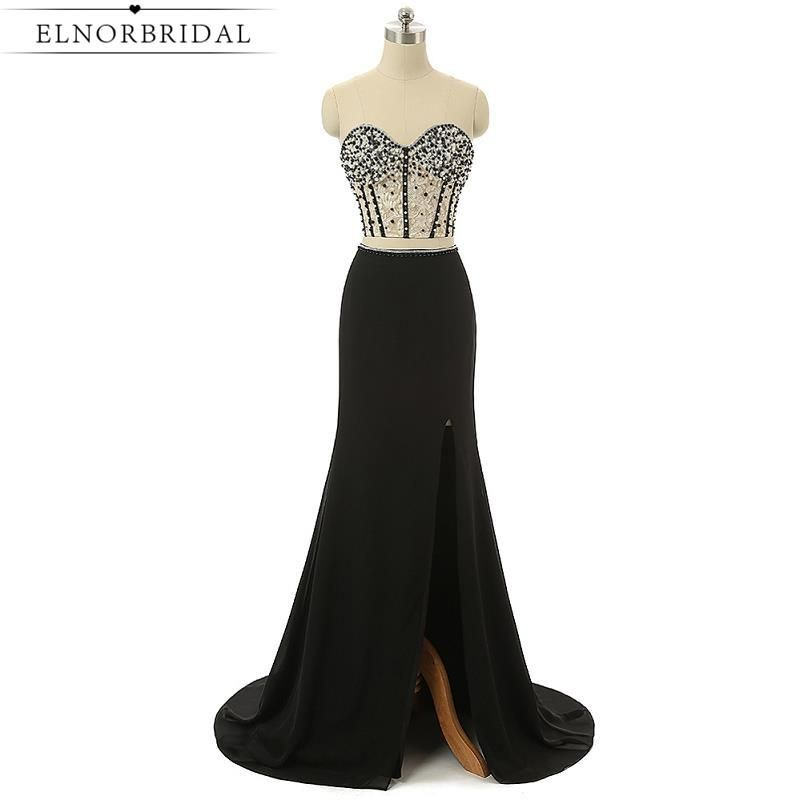 Black Two Piece Prom Dresses 2017 Long Sexy Brithday Party Dresses Robe De  Soiree Longue Slit 10c94b2fcaf9