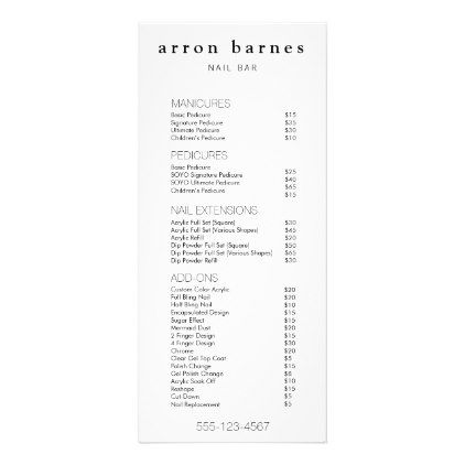 Simple Black White Salon Price List Service Menu Hair Stylist Gifts Business Cyo Diy Custom Create Salon Price List Salon Menu Beauty Salon Price List