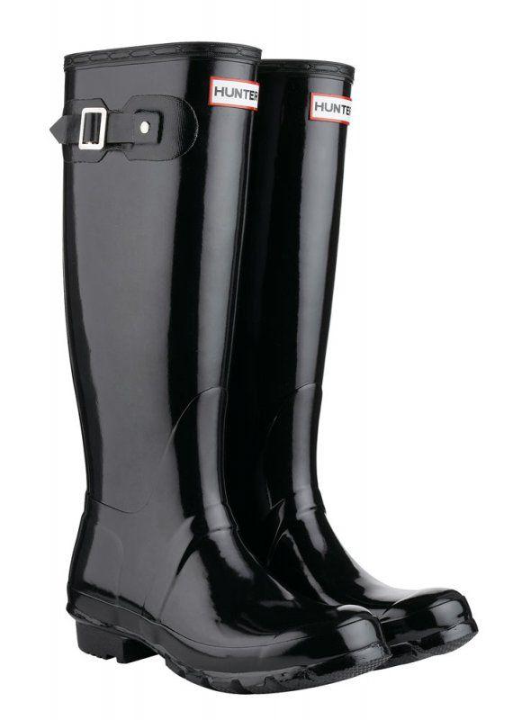 Hunter boots, Black rain boots, Black