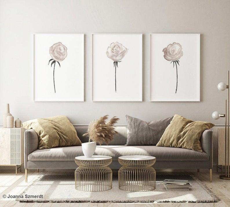 Rose Art Print White Rose Painting Taupe Rose Wall Art Etsy In 2020 Rose Wall Art Etsy Wall Art Rose Painting
