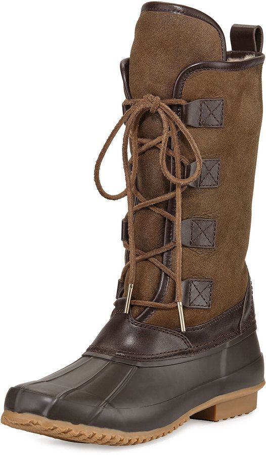 bfc8a416d Tory Burch Argyll Shearling-Lined Lace-Up Boot