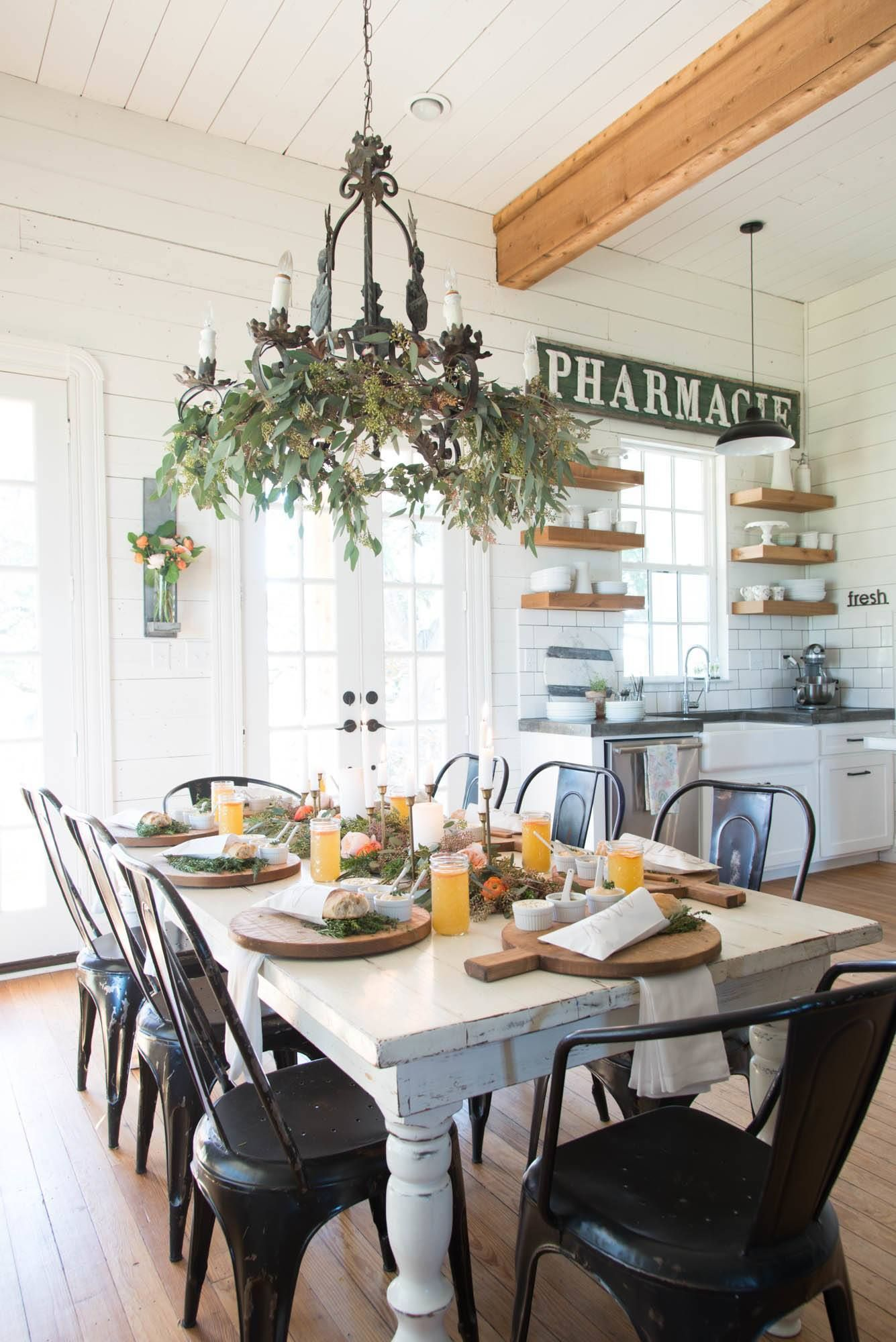 A Winter Dinner Party | Joanna gaines, Beams and Ceiling