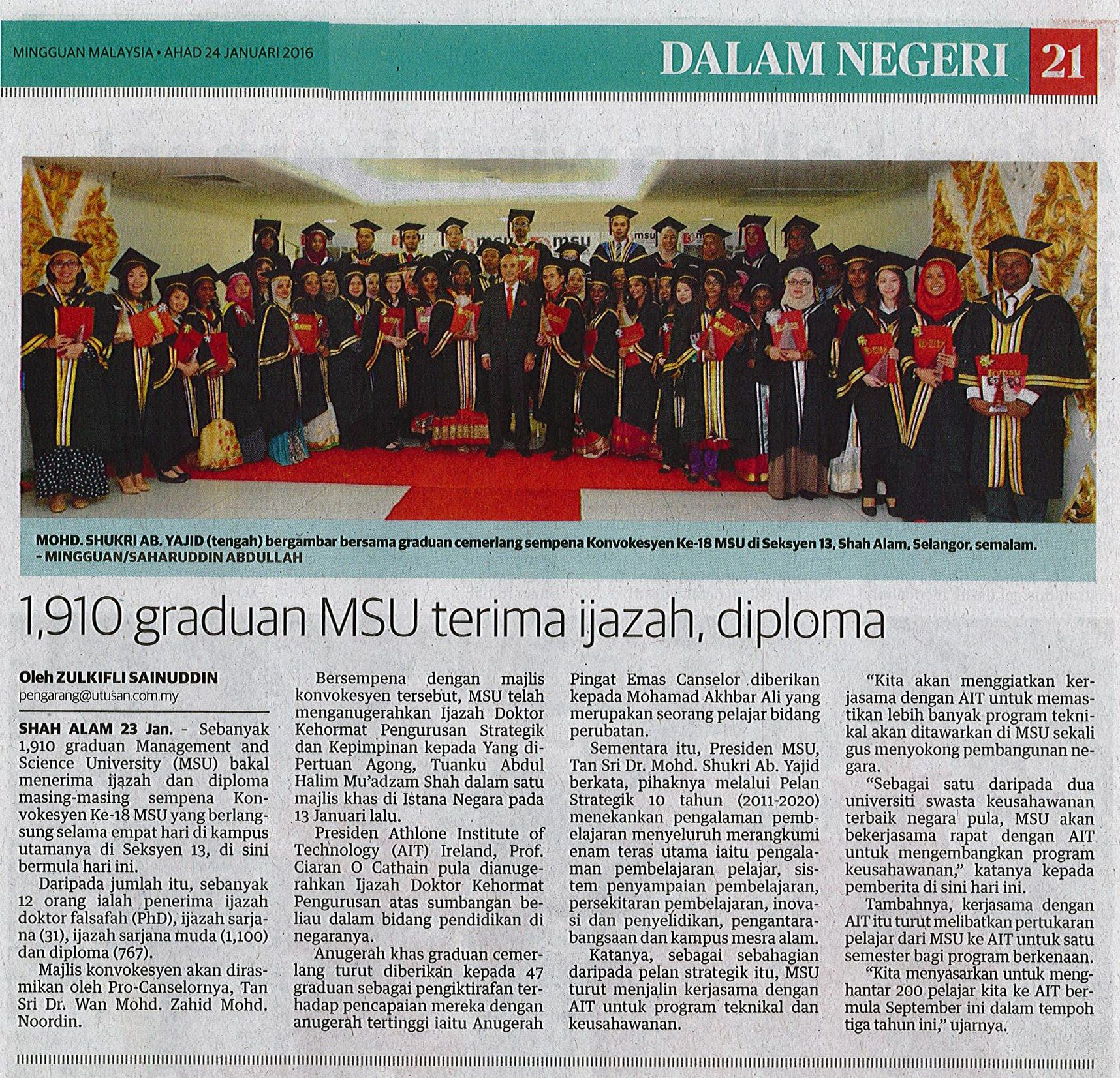 graduan msu terima ijazah dan diploma di majlis konvokesyen  1 910 graduan msu terima ijazah dan diploma di majlis konvokesyen ke 18