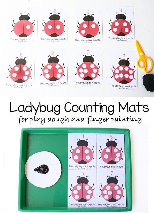 Ladybug Playdoh Counting Mats Homeschool Worksheets Free
