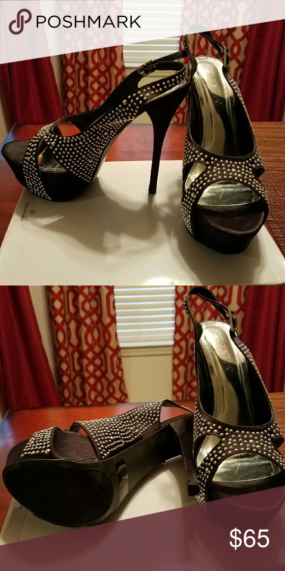 Black Heel Studded , platform Shoes Heels