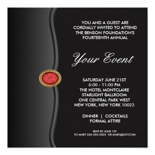 Black White Black Tie Corporate Party Event Card Black tie and Black - invitation card event