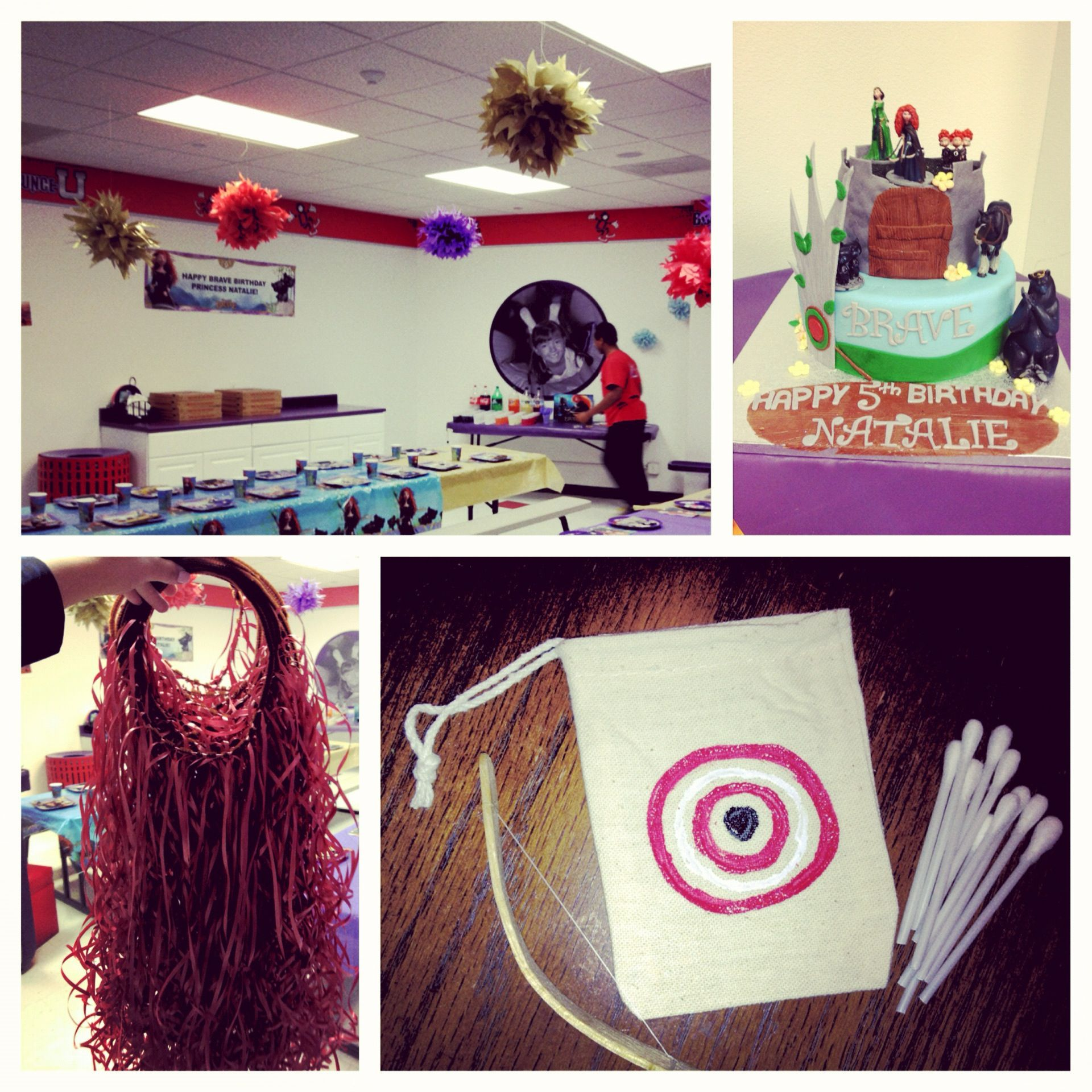 This was the end result for my God daughters Brave birthday party!! Mini bow (Popsicle sticks) and arrows (q-tips). Head pieces made with red curling ribbon for the girls and an amazing cake!!!