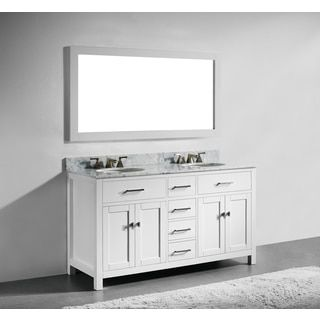 60-inch White Finish Solid Wood Double Bathroom Vanity ...