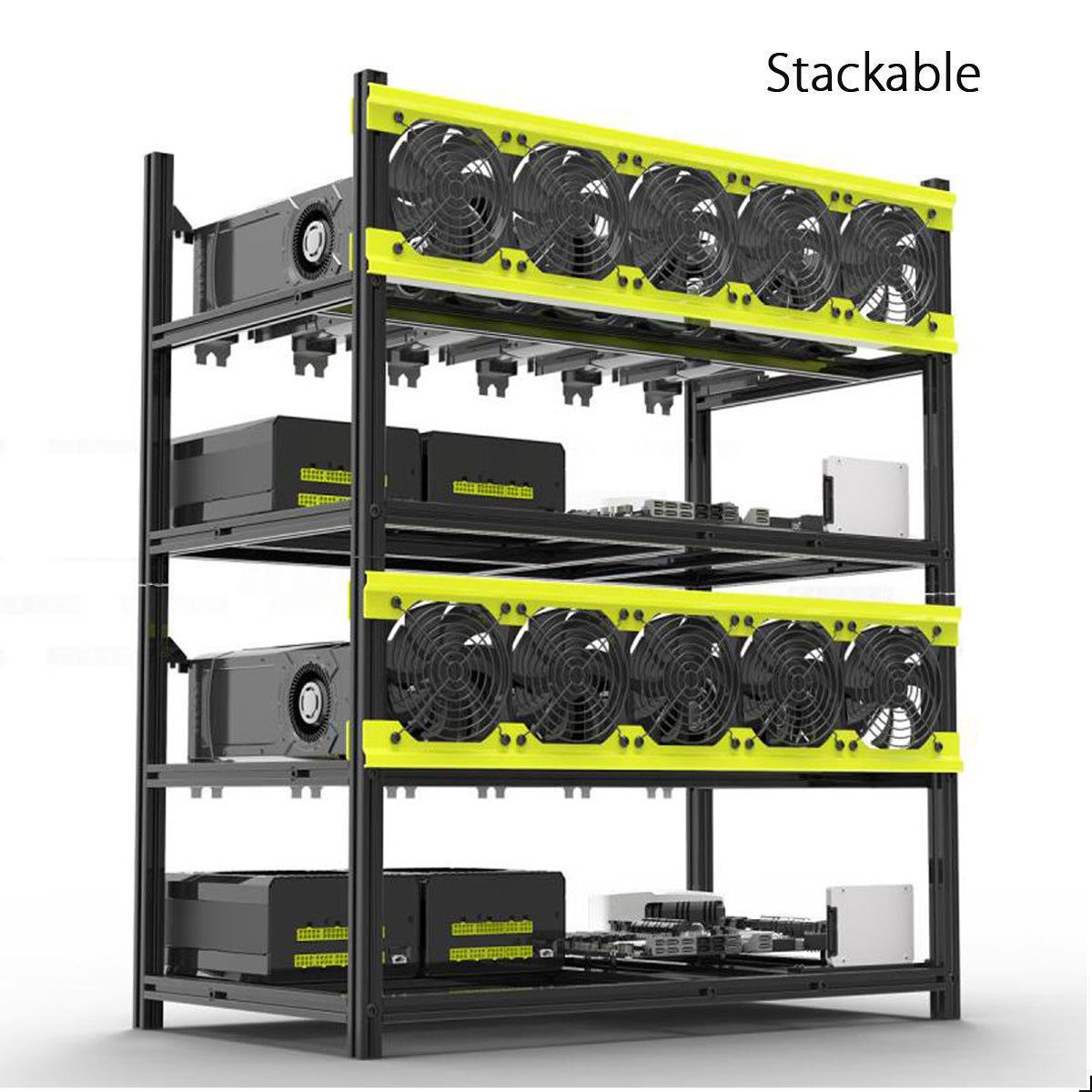 Veddha 8/6 GPU Mining Rig Aluminum Case Stackable Open Air Frame ETH ...