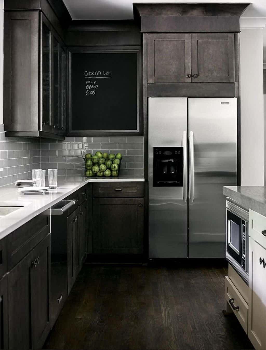 Choosing Stainless Steel Appliances   Backsplash with dark ...