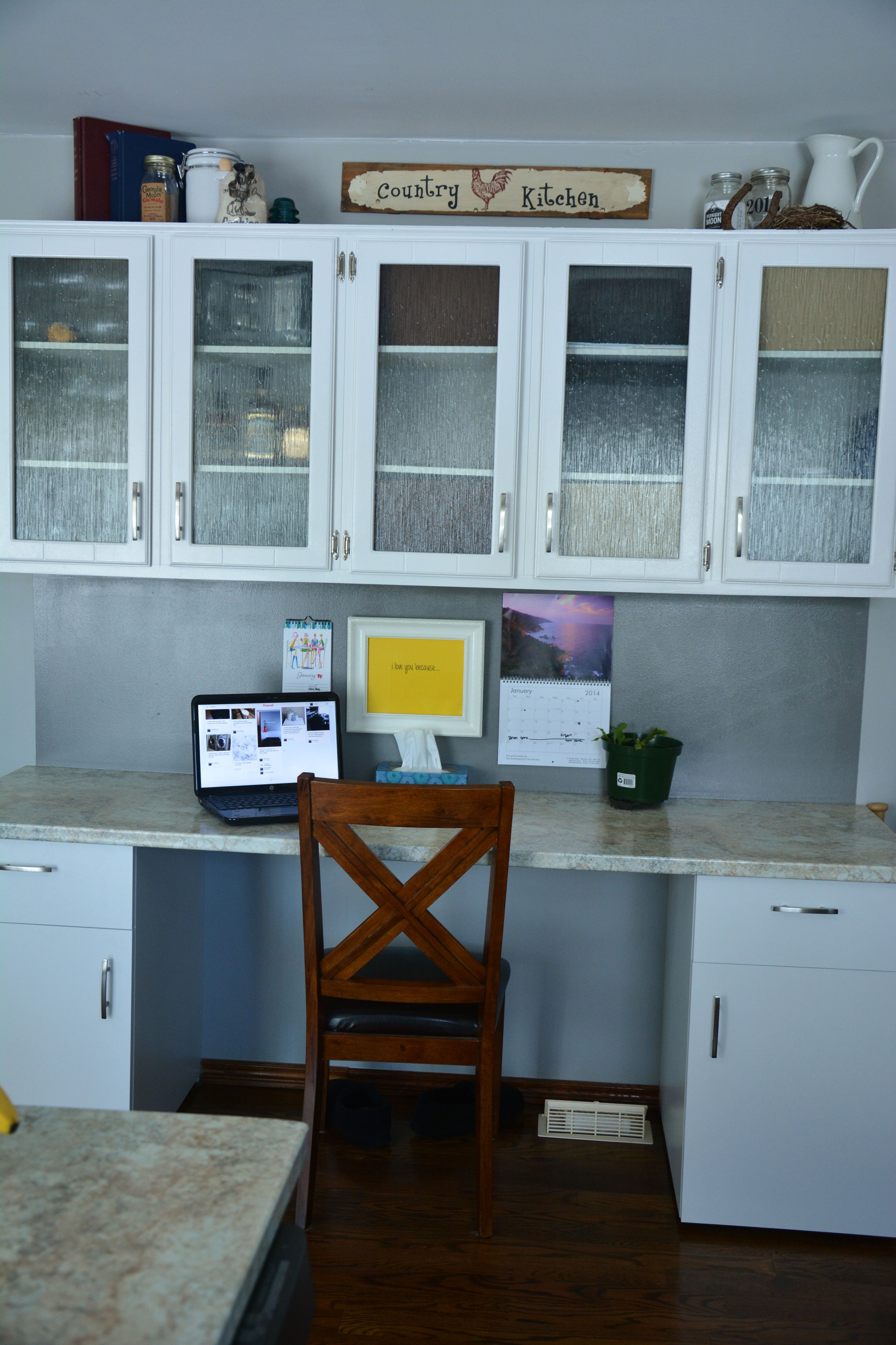 Kitchen desk, made from old hanging upper cabinet. Not fully ...