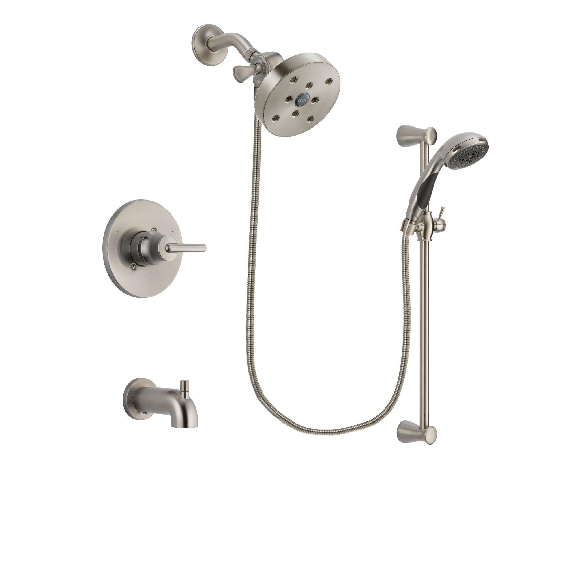Delta Trinsic Stainless Steel Finish Tub And Shower System W Hand