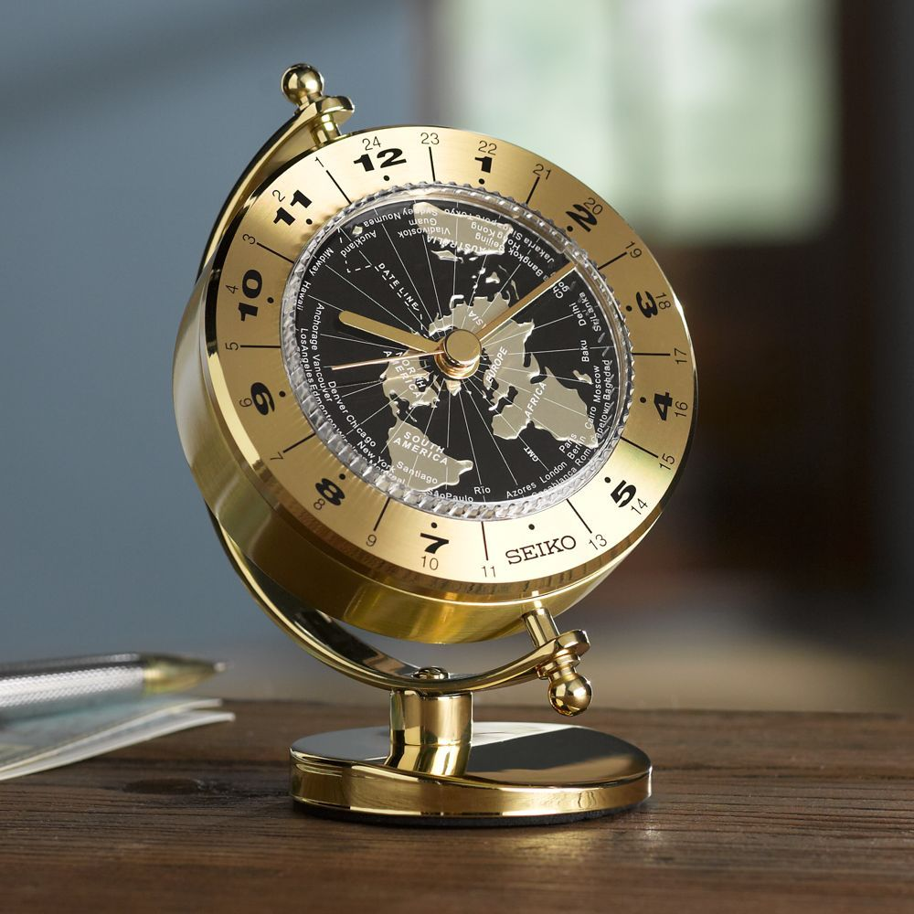 Seiko globe world time clock seiko globe and clocks with just a glance at this handsome brass desk clock by seiko you can learn the time in each of the 24 world time zones from anchorage to the azores gumiabroncs Image collections