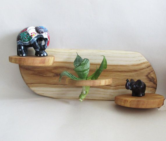 Mini Wood Wall Shelf Wooden Air Plant Hanger Boho by Vishemir