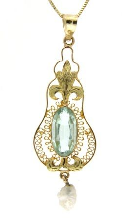 Art Deco, circa 1920, 14k yellow lavalier pendant set with faceted blue glass and accented with a suspended freshwater pearl.