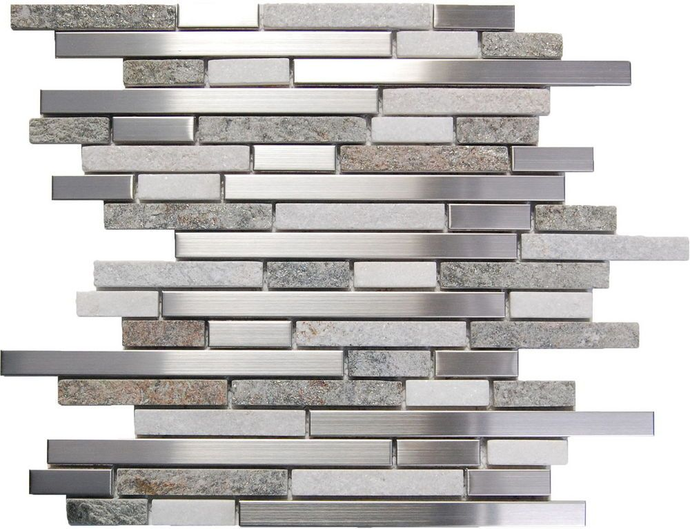 Sample Stainless Steel White Gray Stone Mosaic Tile Kitchen