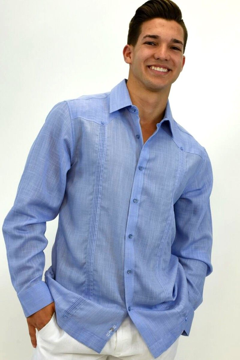 1a0a35cda8 MENS LINEN GUAYABERA STYLE LONG SLEEVED TUCKED SHIRT IN (3) COLORS  (MLS105-P2) - Denim