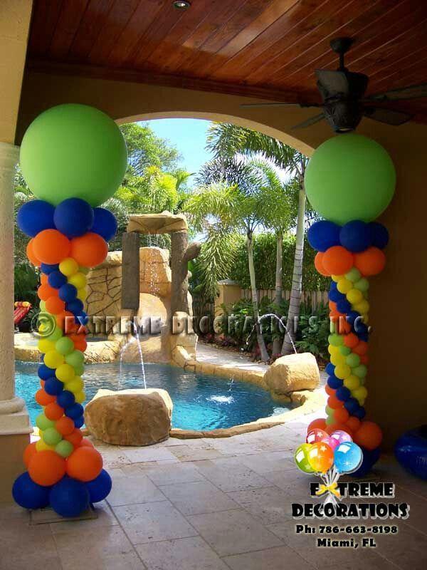 Awesome rainbow balloon column balloons decor