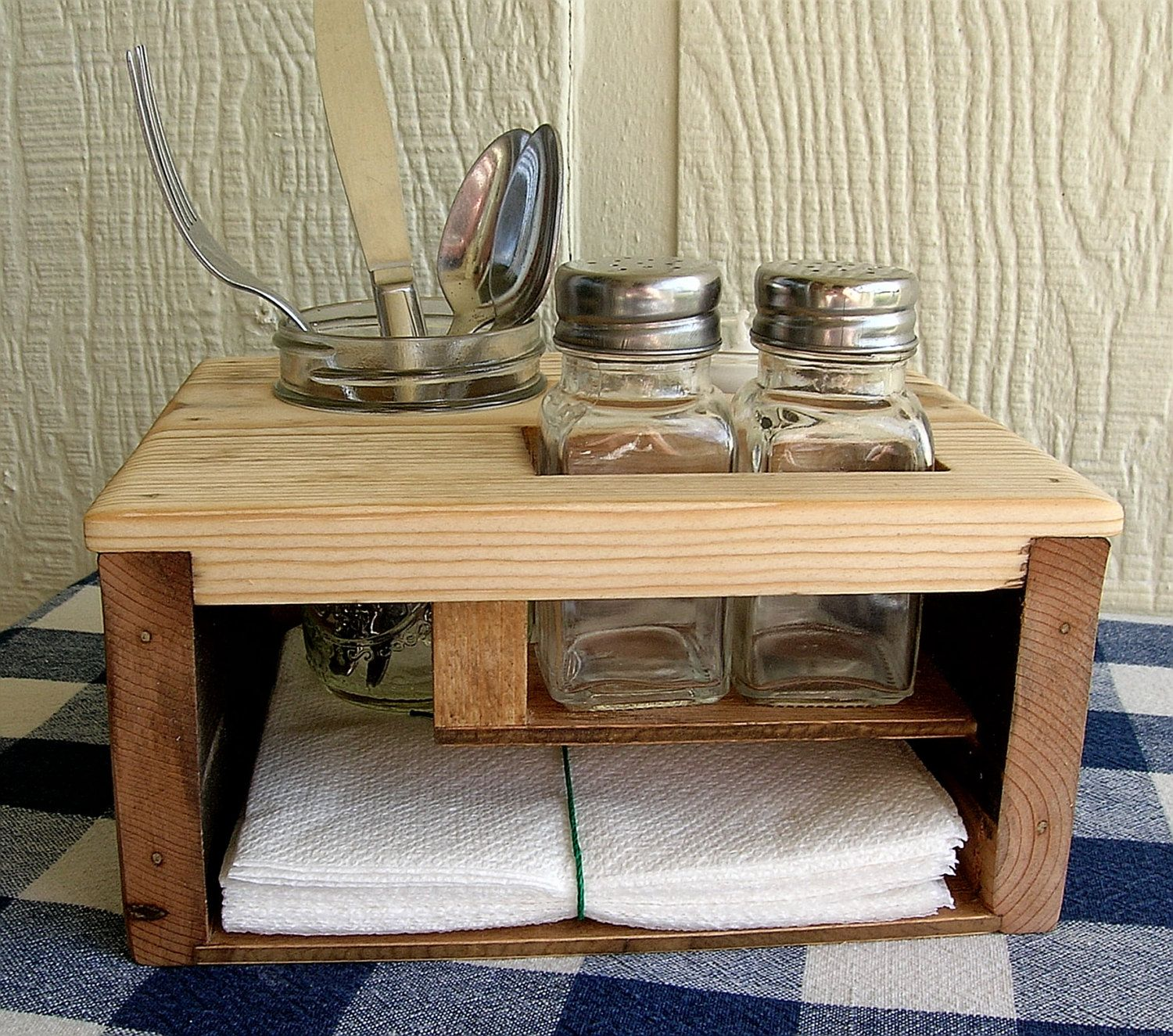 Kitchen Table Organizer Picnic Caddy Silverware Salt And Pepper Napkin Candle Holder By Irishdayfair On Etsy