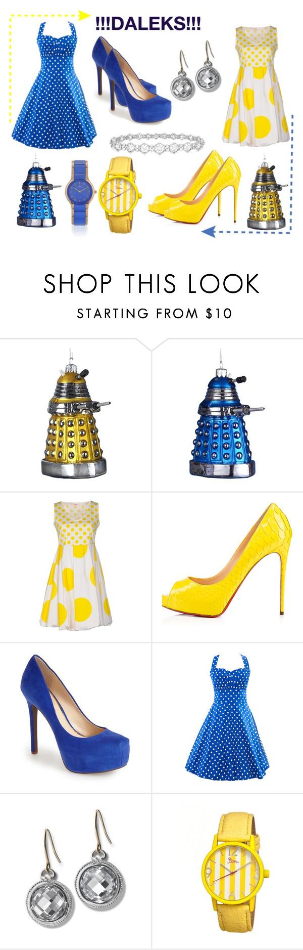 """Dalek's and Beyond"" by marthabr on Polyvore featuring Kurt Adler, Blugirl Folies, Privé, Jessica Simpson, Monica Rich Kosann, Epoque, Boum and Jacques Lemans"