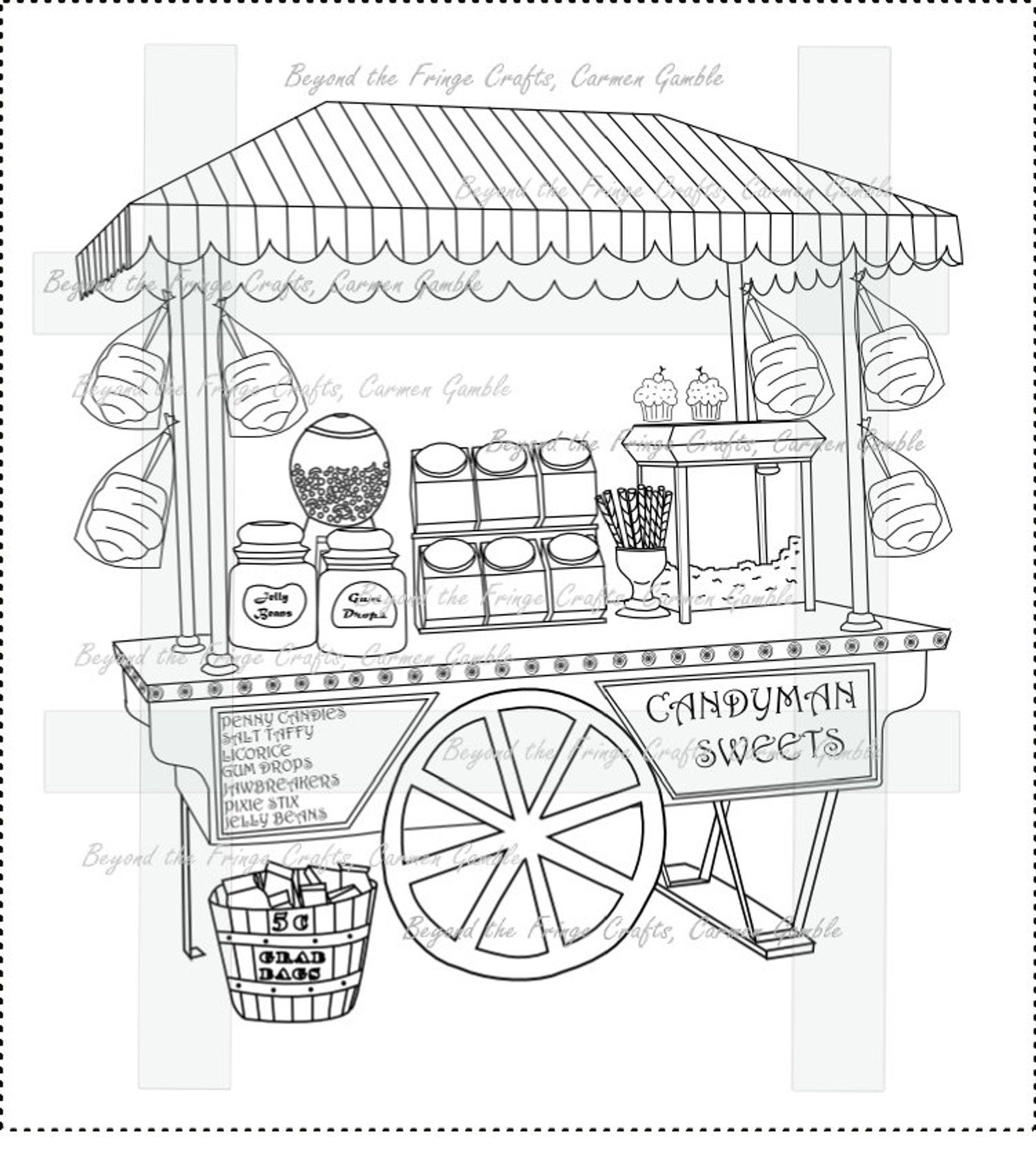 Candy Cart Digital Stamp Templates Stamps Appliques Candy