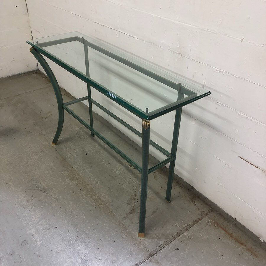 Pierre Vandel wall console '1980' € 375,-. HxWxD 76 x 110 x 35 cm. Two tiered. Beveled glass on top Condition: almost mint condition. Swipe to left, to see more photo's. .