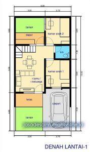 denah rumah sederhana 2 lantai ukuran 6x12 lantai1