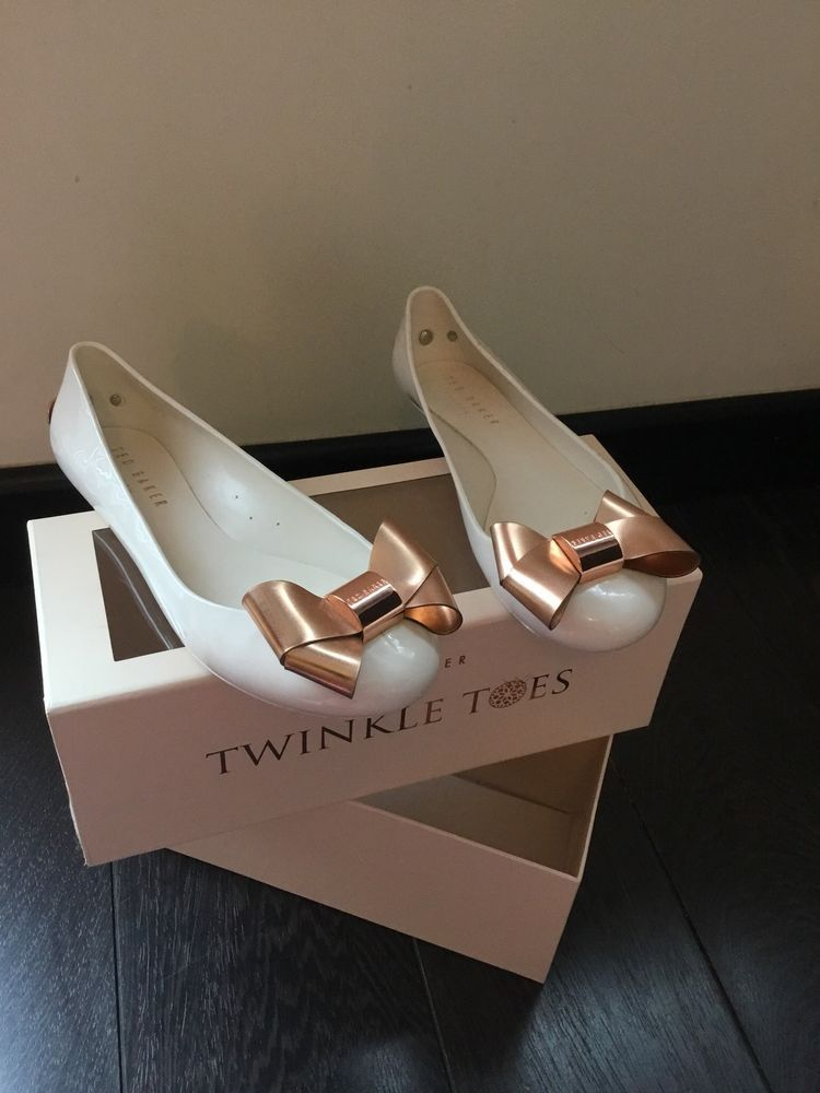 689acacb0ebea Ted Baker Twinkle Toes Faiyte Cream And Rose Gold Flat Pumps Exclusive Rare  Sz 5