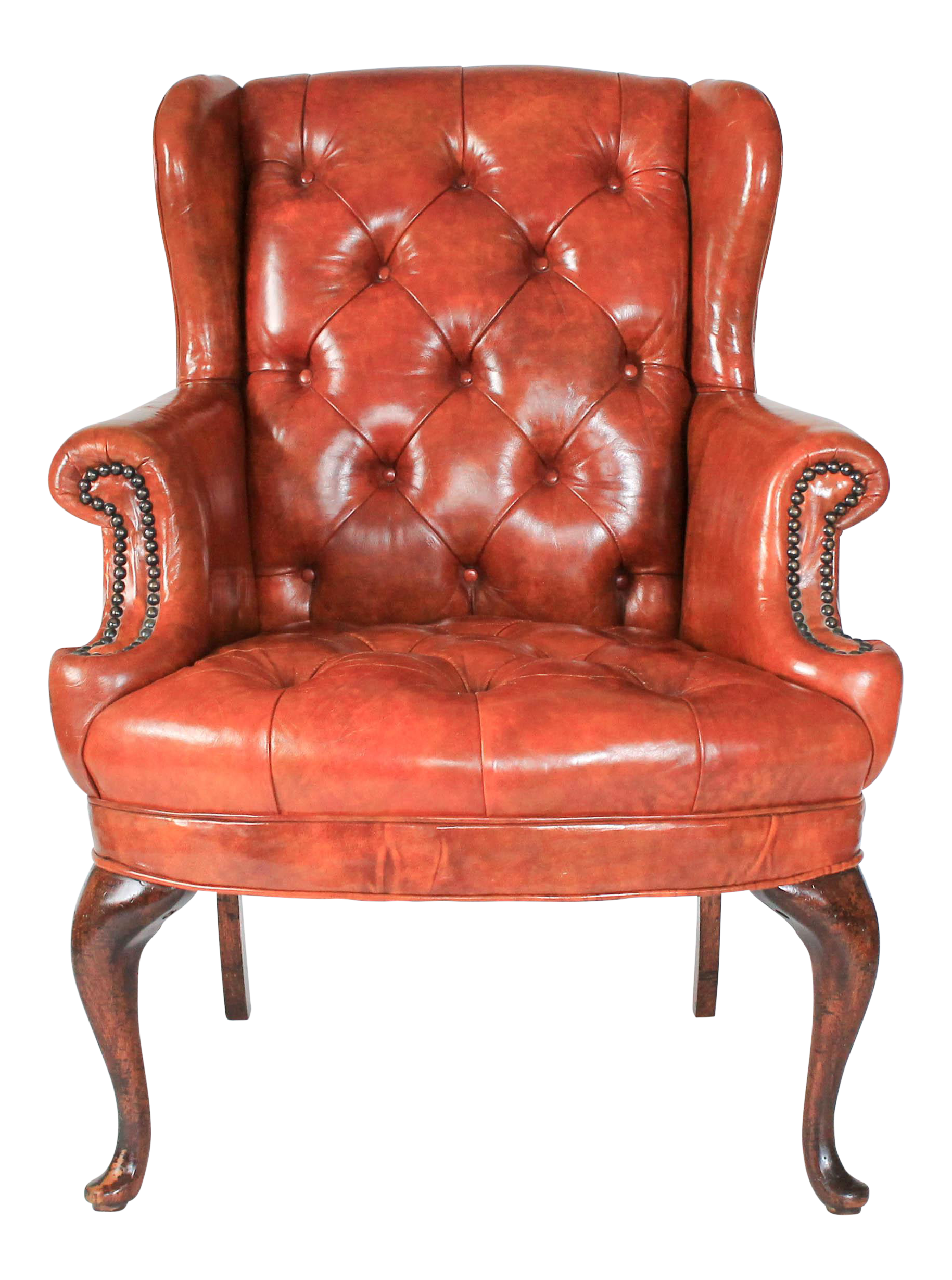 Petite Leather Tufted Wingback Chair On Chairish.com