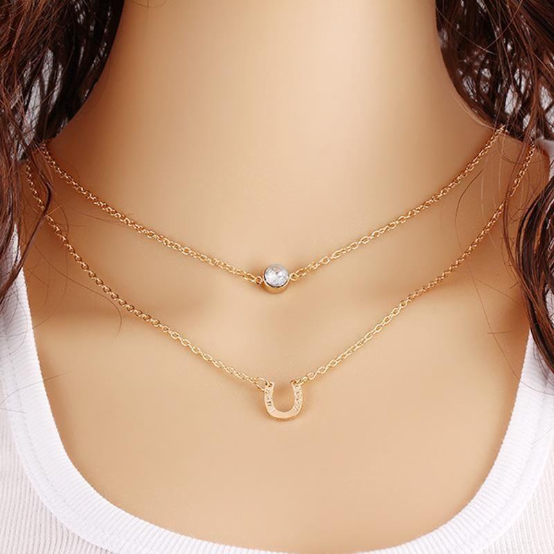 Rhinestone Double Horse Hoof Horseshoe Pendant Necklace Jewellery necklaces