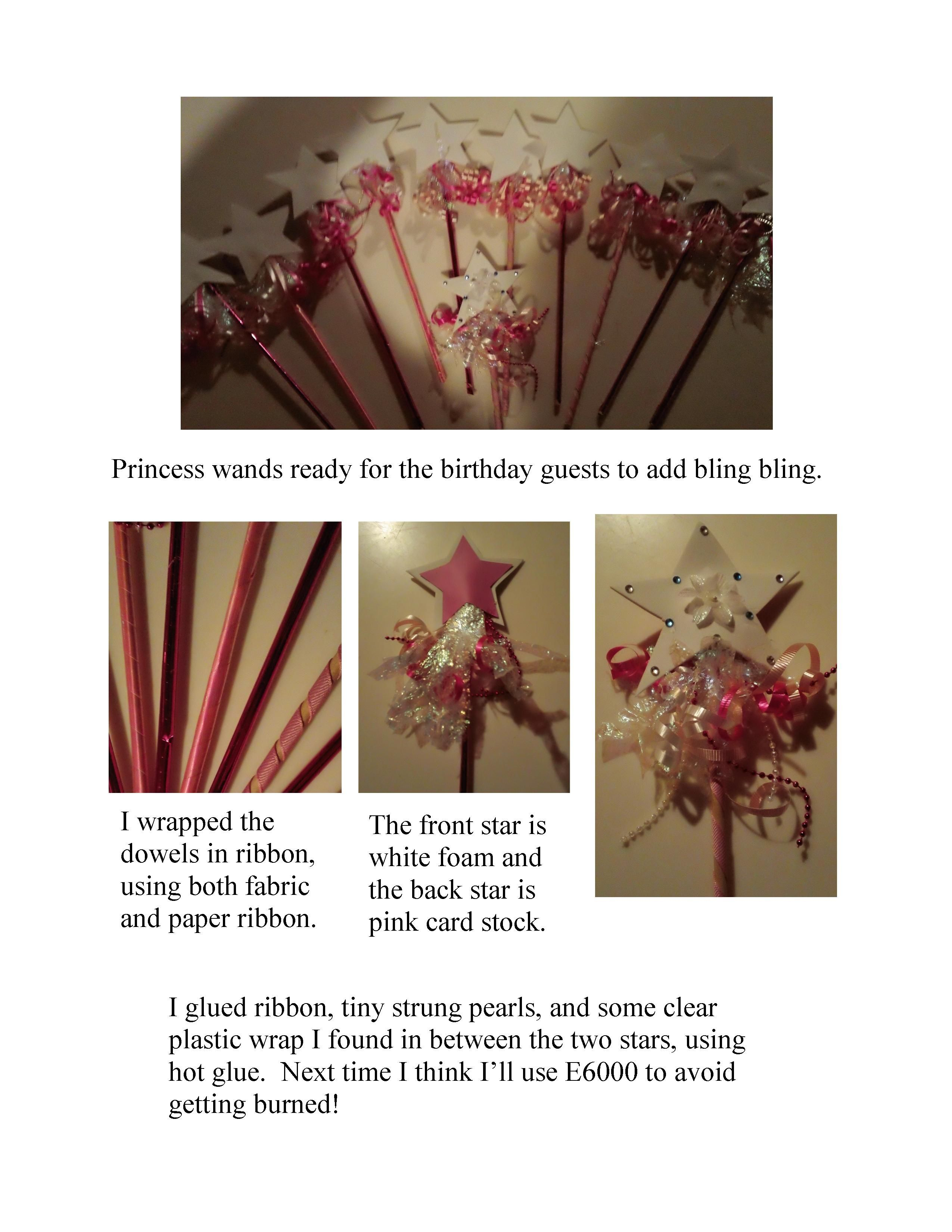 I made these wands using dowels, fun foam, ribbon, etc.  Ready for decorating!